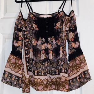Band of Gypsies   Off-the-shoulder floral blouse